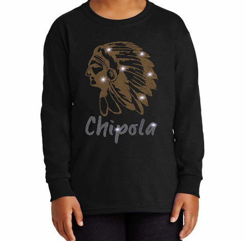 Chipola College Indians - Youth Long Sleeve Ladies Long Sleeve V-neck Becky`s Boutique Extra Small