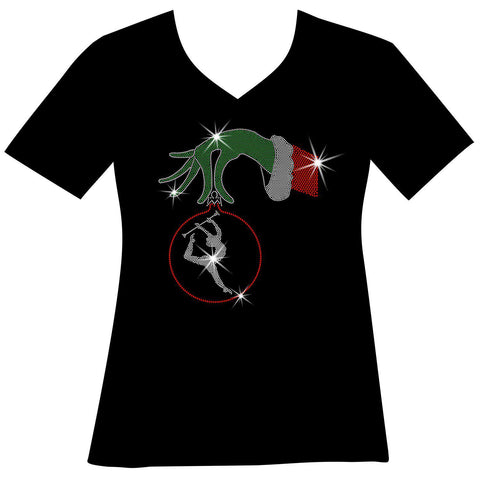 Christmas Twirling Grinchy hand holding an ornament -Ladies Holographic Short Sleeve V-Neck, Long Sleeve V-Neck, Racerback Tank and Hooded Sweatshirt-LS Shirt, SS Shirt, Racerback tank and hoodie-Becky's Boutique-XS-Short sleeve V-Neck-Beckys-Boutique.com
