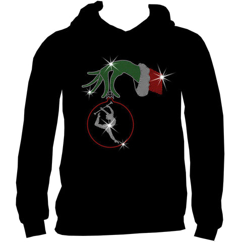 Christmas Twirling Grinchy hand holding an ornament -Ladies Holographic Short Sleeve V-Neck, Long Sleeve V-Neck, Racerback Tank and Hooded Sweatshirt-LS Shirt, SS Shirt, Racerback tank and hoodie-Becky's Boutique-XS-Adult Hooded Sweatshirt-Beckys-Boutique.com
