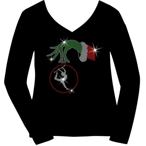 Christmas Twirling Grinchy hand holding an ornament -Ladies Holographic Short Sleeve V-Neck, Long Sleeve V-Neck, Racerback Tank and Hooded Sweatshirt-LS Shirt, SS Shirt, Racerback tank and hoodie-Becky's Boutique-XS-Long SleeveV-Neck-Beckys-Boutique.com