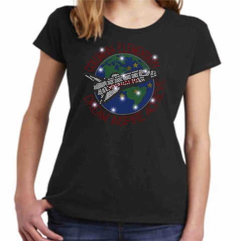 Columbia Elementary Girls Short Sleeve Earth Shuttle Spangle Bling Shirt Youth Short Sleeve Becky's Boutique XS Black