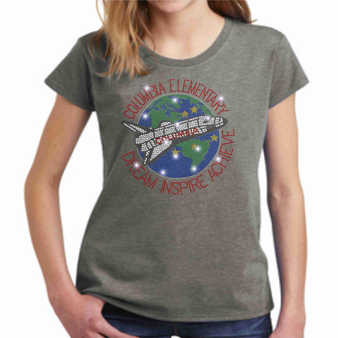 Image of Columbia Elementary Girls Short Sleeve Earth Shuttle Spangle Bling Shirt Youth Short Sleeve Becky's Boutique XS Gray