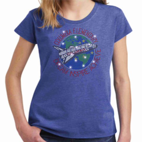 Columbia Elementary Girls Short Sleeve Earth Shuttle Spangle Bling Shirt Youth Short Sleeve Becky's Boutique XS Heather Blue