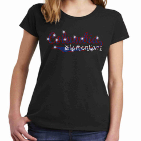 Image of Columbia Elementary Girls Short Sleeve Swoosh Spangle Bling Shirt Youth Short Sleeve Becky's Boutique XS Black