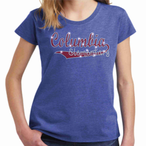 Image of Columbia Elementary Girls Short Sleeve Swoosh Spangle Bling Shirt Youth Short Sleeve Becky's Boutique XS Heather Blue