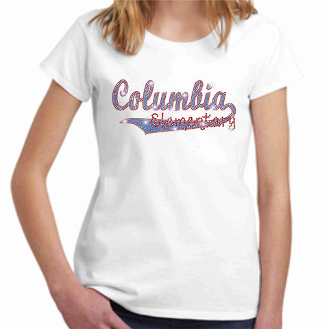 Columbia Elementary Girls Short Sleeve Swoosh Spangle Bling Shirt Youth Short Sleeve Becky's Boutique XS White