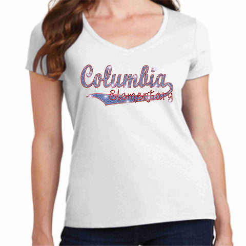 Columbia Elementary School Athletic Swoosh Spangle Bling Ladies Short Sleeve shirt Ladies Short Sleeve V-neck Becky`s Boutique XS White