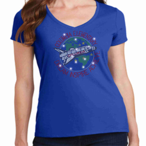 Columbia Elementary School Earth Shuttle Spangle Bling Ladies Short Sleeve Vneck shirt Ladies Short Sleeve V-neck Becky`s Boutique XS Royal Blue
