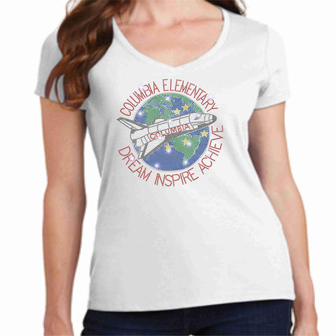 Columbia Elementary School Earth Shuttle Spangle Bling Ladies Short Sleeve Vneck shirt Ladies Short Sleeve V-neck Becky`s Boutique XS White