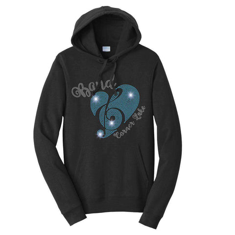 Corner Lake Eagles Band Heart Treble Clef - Hoodie Sweatshirt Hoodie Sweatshirt Becky`s Boutique Extra Small