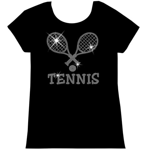 Crossed Tennis Rackets Holographic Sparkle Spangle Bling shirt - Youth Short, Long Sleeve, Tank or Hoodie Sweatshirt-Youth LS, SS, tank and Hoodie-Becky`s Boutique-X-Small-Girls Short Sleeve-Beckys-Boutique.com