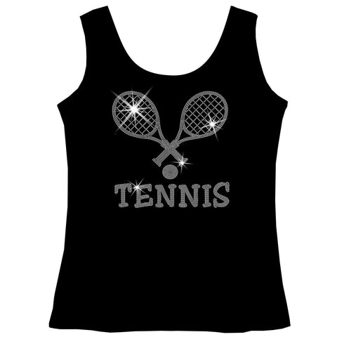 Crossed Tennis Rackets Holographic Sparkle Spangle Bling shirt - Youth Short, Long Sleeve, Tank or Hoodie Sweatshirt-Youth LS, SS, tank and Hoodie-Becky`s Boutique-X-Small-Girls Tank Top-Beckys-Boutique.com