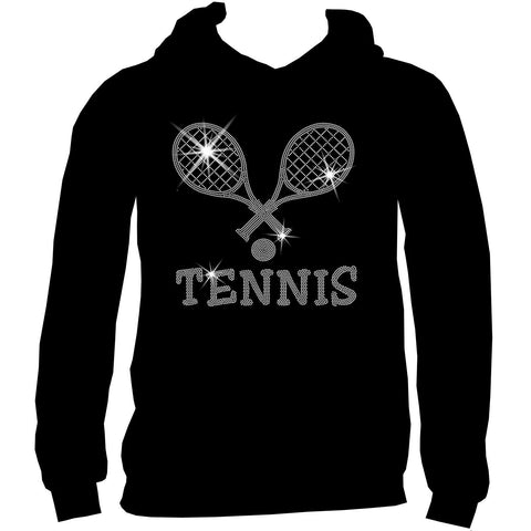 Crossed Tennis Rackets Holographic Sparkle Spangle Bling shirt - Youth Short, Long Sleeve, Tank or Hoodie Sweatshirt-Youth LS, SS, tank and Hoodie-Becky`s Boutique-X-Small-Youth Hoodie Sweatshirt-Beckys-Boutique.com