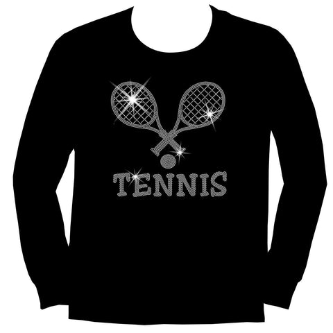 Crossed Tennis Rackets Holographic Sparkle Spangle Bling shirt - Youth Short, Long Sleeve, Tank or Hoodie Sweatshirt-Youth LS, SS, tank and Hoodie-Becky`s Boutique-X-Small-Youth Long Sleeve-Beckys-Boutique.com