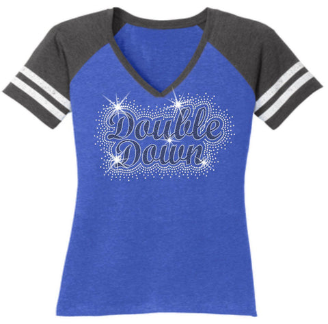 Cursive Double Down Firework Holographic Sparkle Spangle Bling Ladies Jersey T-shirt-Ladies Jersey T-shirt-Becky's Boutique-Small-Blue-Beckys-Boutique.com