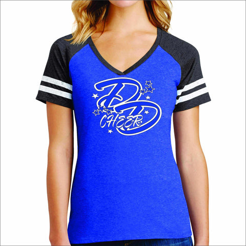 Double Down Womens Game Day Jersey T-shirt Sports Becky's Boutique Small Blue