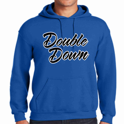 Cursive Double Down Hoodie-Matte or Glitter Print Sports Becky's Boutique Small Blue