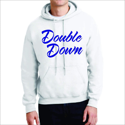 Cursive Double Down Hoodie-Matte or Glitter Print Sports Becky's Boutique Small White