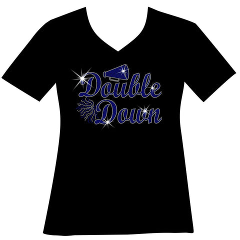 Cursive Double Down Megaphone and Pom Pom Holographic Sparkle Spangle Bling Ladies Short Sleeve V-Neck- Black or Blue-Ladies Short Sleeve V-neck-Becky's Boutique-Extra Small-Black-Beckys-Boutique.com