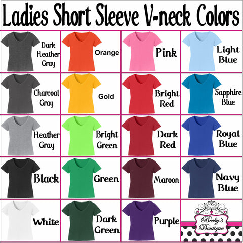 Custom Spangle Logo Ladies Short Sleeve V-Neck Shirt-Ladies Short Sleeve V-neck-Becky's Boutique-XS-Spangle Bling-Beckys-Boutique.com