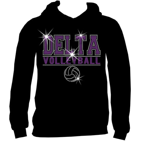 Image of Custom Volleyball Team Ladies Holographic Spangle Bling Short Sleeve V-Neck, Long Sleeve V-Neck, Racerback Tank, Unisex Hooded Sweatshirt, Unisex Short Sleeve Crew Neck, Unisex Long Sleeve Crew Neck-LS Shirt, SS Shirt, Racerback tank and hoodie-Becky's Boutique-XS-Unisex Hooded Sweatshirt-Beckys-Boutique.com