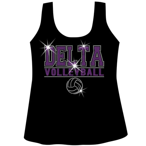 Image of Custom Volleyball Team Ladies Holographic Spangle Bling Short Sleeve V-Neck, Long Sleeve V-Neck, Racerback Tank, Unisex Hooded Sweatshirt, Unisex Short Sleeve Crew Neck, Unisex Long Sleeve Crew Neck-LS Shirt, SS Shirt, Racerback tank and hoodie-Becky's Boutique-XS-Racerback Tank-Beckys-Boutique.com