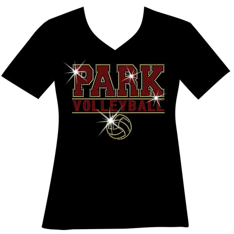 Custom Volleyball Team Ladies Holographic Spangle Bling Short Sleeve V-Neck, Long Sleeve V-Neck, Racerback Tank, Unisex Hooded Sweatshirt, Unisex Short Sleeve Crew Neck, Unisex Long Sleeve Crew Neck-LS Shirt, SS Shirt, Racerback tank and hoodie-Becky's Boutique-XS-Short Sleeve V-Neck-Beckys-Boutique.com