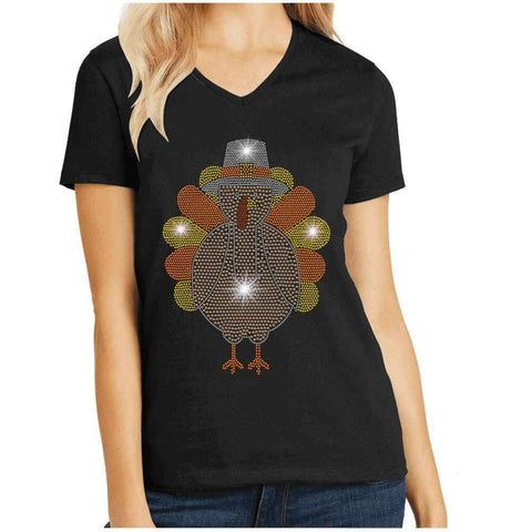 Cute Turkey - Thanksgiving/Fall Spangle Bling shirt Holidays Becky's Boutique Womens Extra-small Womens short sleeve V-neck