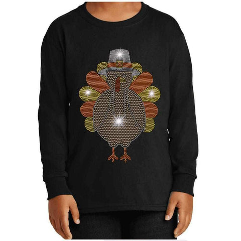 Cute Turkey - Thanksgiving/Fall - Youth Long Sleeve Youth Long Sleeve Becky`s Boutique Extra Small