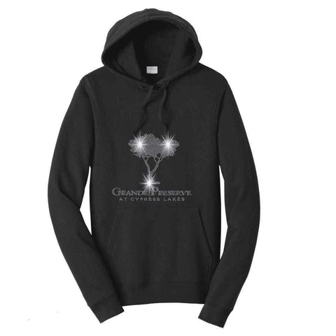 Cypress Lakes, Cypress Tree Spangle Bling shirt Nature & Beach Becky's Boutique Womens Extra-small Adult Hooded Sweatshirt