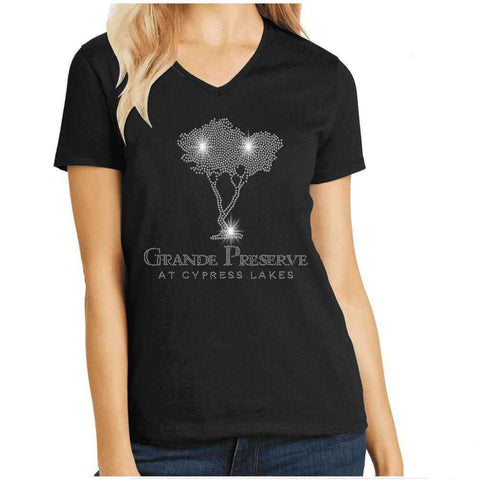 Cypress Lakes, Cypress Tree Spangle Bling shirt Nature & Beach Becky's Boutique Womens Extra-small Womens short sleeve V-neck