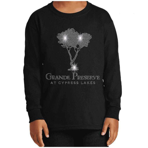 Cypress Lakes, Cypress Tree Spangle Bling shirt Nature & Beach Becky's Boutique Womens Extra-small Youth Long Sleeve
