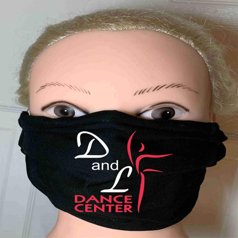 D and L Black Matte Print Face Mask, Adult and Child Sizes Face Mask Beckys-Boutique.com Adult