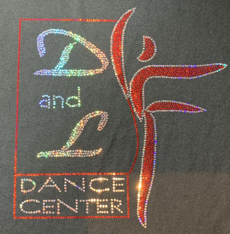 D and L Dance Center Adult and Youth Bling Hooded Sweatshirt-Black Hoodie Sweatshirt Becky's Boutique