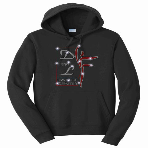 D and L Dance Center Adult and Youth Bling Hooded Sweatshirt-Black Hoodie Sweatshirt Becky's Boutique Youth XS