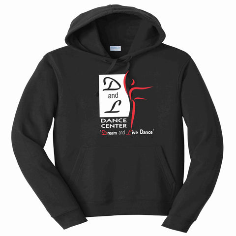 D and L Dance Center Adult and Youth Matte Print Hooded Sweatshirt-Black Hoodie Sweatshirt Becky's Boutique Youth XS
