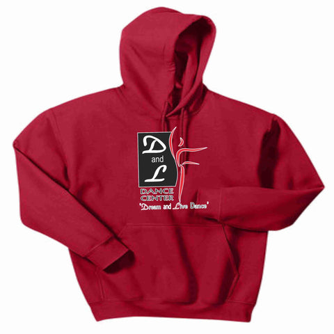 D and L Dance Center Adult and Youth Matte Print Hooded Sweatshirt-Red Hoodie Sweatshirt Becky's Boutique Youth XS
