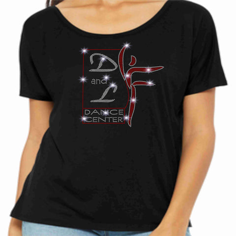 D and L Dance Center Ladies Short Sleeve Flowy wide neck t Short Sleeve Crew Neck Becky's Boutique Small