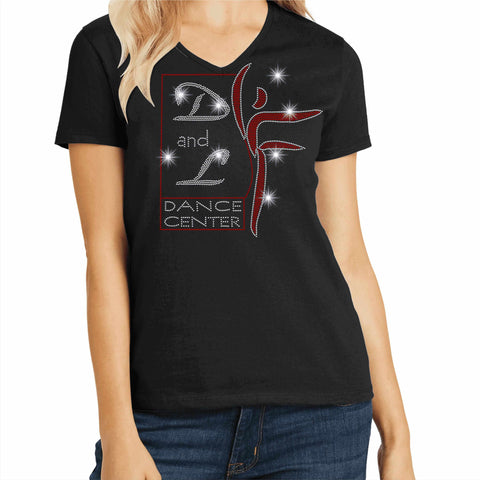 D and L Dance Center Ladies Short Sleeve V-Neck-Black Ladies Short Long Sleeve V-neck Becky's Boutique Extra Small