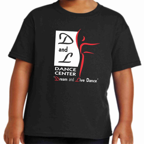 D and L Dance Center Youth Short Sleeve Crew Neck-Black Short Sleeve Crew Neck Becky's Boutique Extra Small