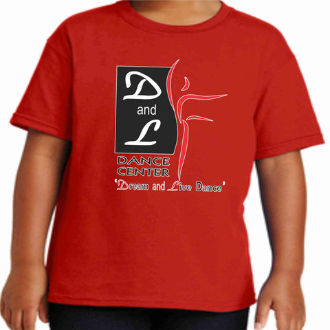 D and L Dance Center Youth Short Sleeve Crew Neck-Red Short Sleeve Crew Neck Becky's Boutique Extra Small