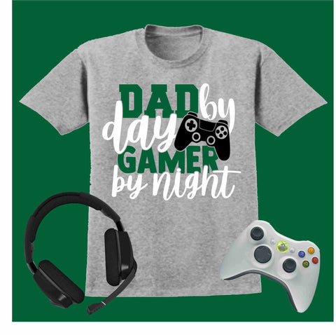 Dad By Day Gamer By Night- Short Sleeve Screen Printed Shirt Short Sleeve Crew Neck Mens Beckys-Boutique.com Small