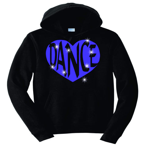 Dance Heart Spangle Bling Dance Gear Team Spirit shirt - Hoodie Sweatshirt Hoodie Sweatshirt Becky`s Boutique Extra Small