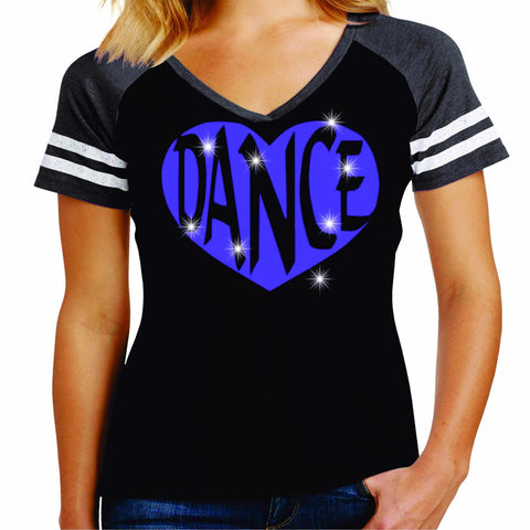 Dance Heart Spangle Bling Dance Gear Team Spirit shirt - Ladies Jersey Shirt Jersey Shirt Becky`s Boutique Extra Small