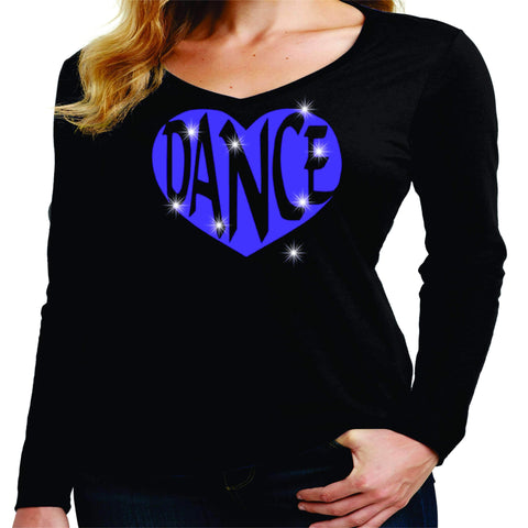 Dance Heart Spangle Bling Dance Gear Team Spirit shirt - Ladies Long Sleeve V-Neck Ladies Long Sleeve V-neck Becky`s Boutique Extra Small