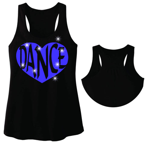 Dance Heart Spangle Bling Dance Gear Team Spirit shirt - Ladies Racerback Tank ladies racerback tank Becky`s Boutique Extra Small