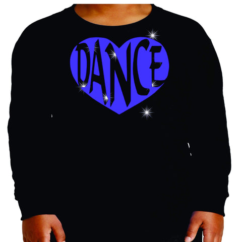 Dance Heart Spangle Bling Dance Gear Team Spirit shirt - Youth Long Sleeve Youth Long Sleeve Becky`s Boutique Extra Small