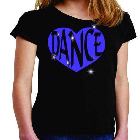 Dance Heart Spangle Bling Dance Gear Team Spirit shirt - Youth Short Sleeve Youth Short Sleeve Becky`s Boutique Extra Small