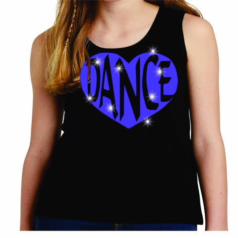 Dance Heart Spangle Bling Dance Gear Team Spirit shirt - Youth Tank Youth Tank Becky`s Boutique Extra Small