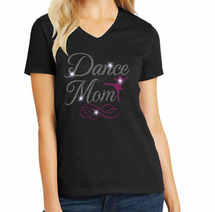 Dance Mom - Spangle Bling Dance Gear Team Spirit shirt Sports Becky's Boutique Womens Small Womens short sleeve V-neck